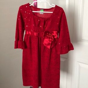 DOLLIE & ME RED CHRISTMAS DRESS